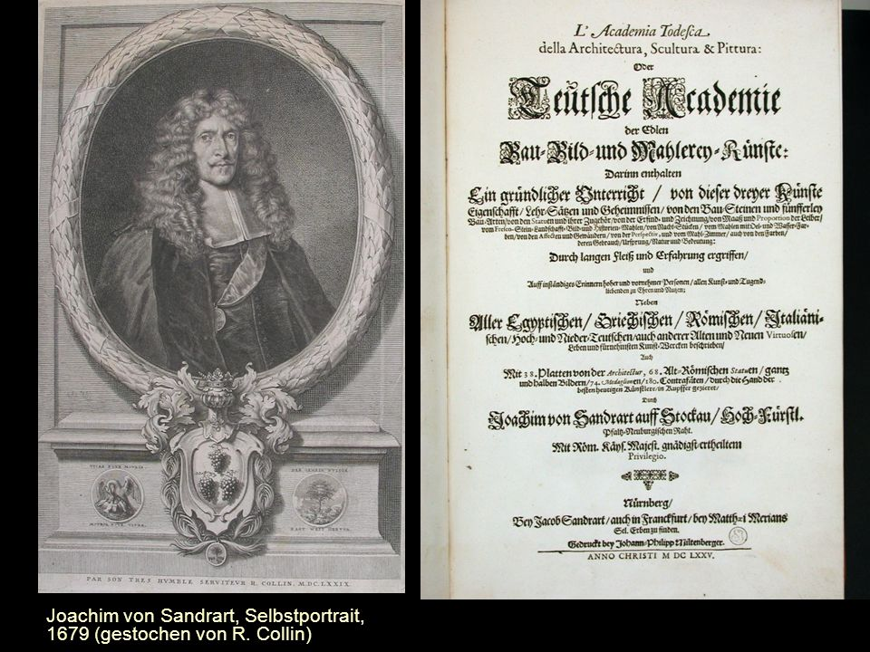 Joachim von Sandrart, Selbstportrait, 1679 (gestochen von R. Collin)