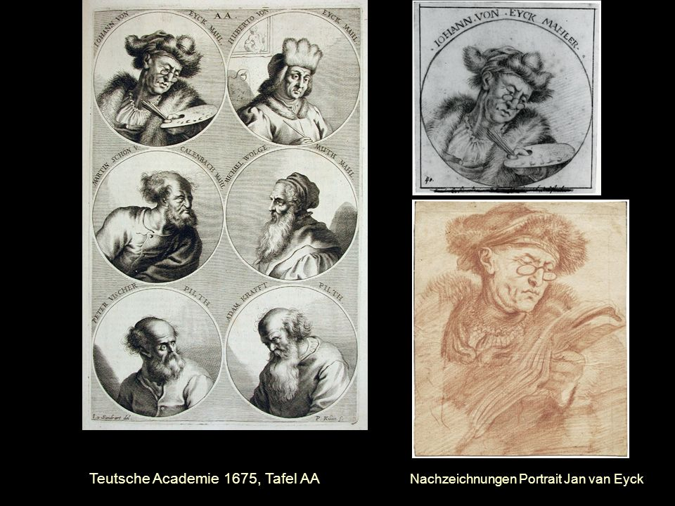 Teutsche Academie 1675, Tafel AA Nachzeichnungen Portrait Jan van Eyck