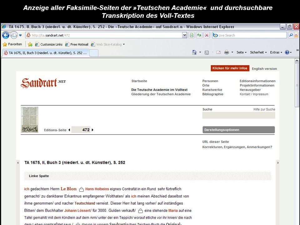 Anzeige aller Faksimile-Seiten der »Teutschen Academie« und durchsuchbare Transkription des Voll-Textes