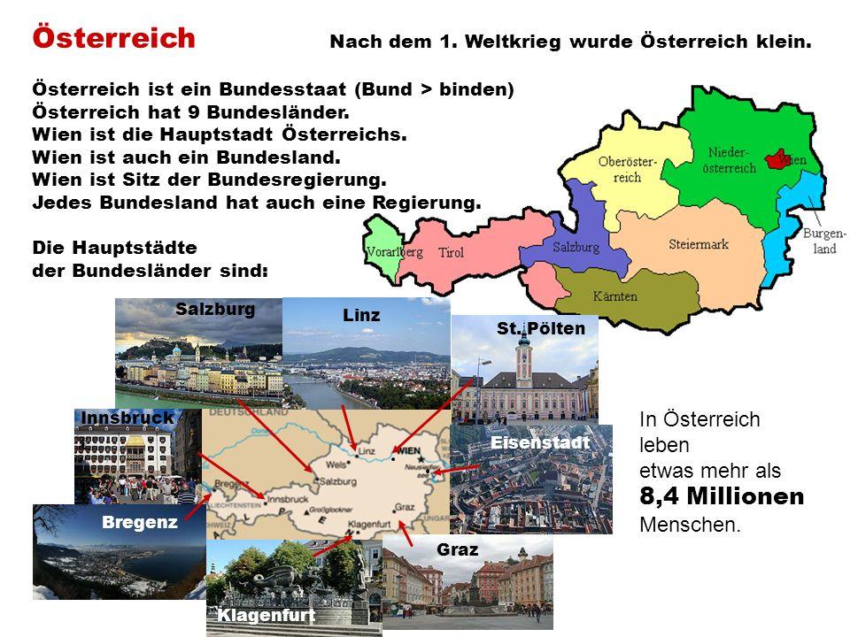 Österreich Nach dem 1. Weltkrieg wurde Österreich klein.