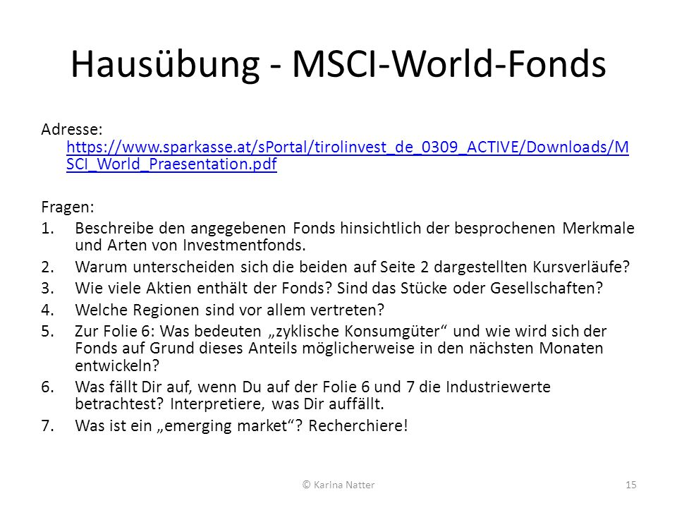 Hausübung - MSCI-World-Fonds