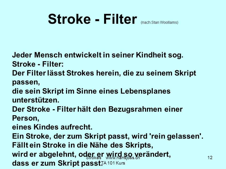 Stroke - Filter (nach Stan Woollams)