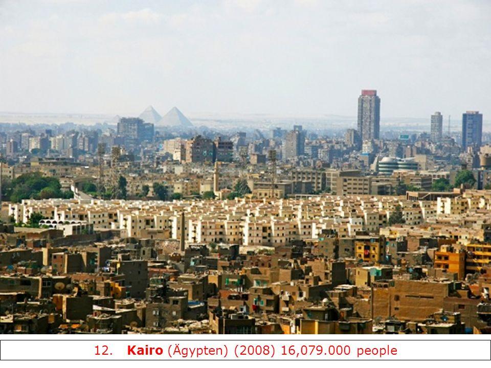 12. Kairo (Ägypten) (2008) 16,079.000 people