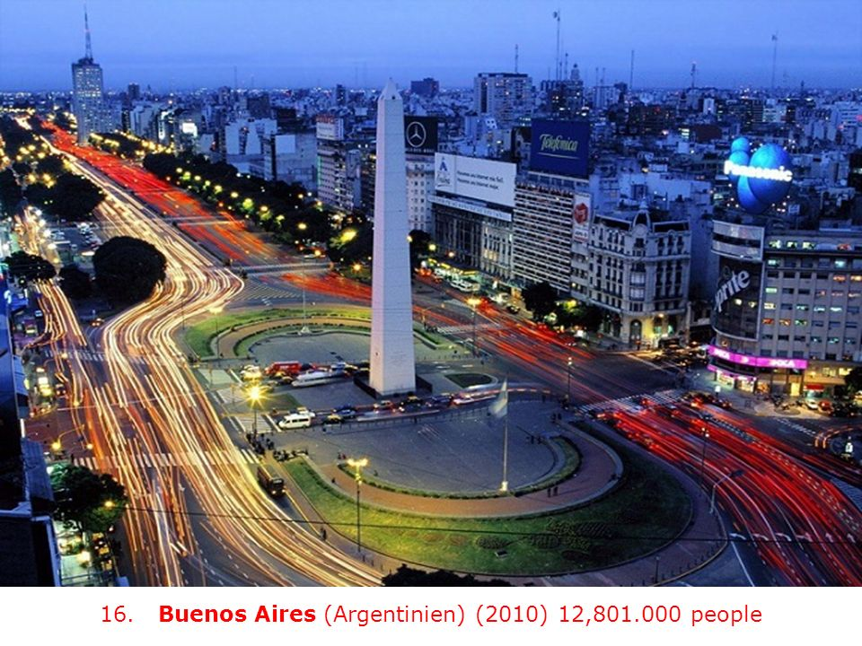 16. Buenos Aires (Argentinien) (2010) 12,801.000 people