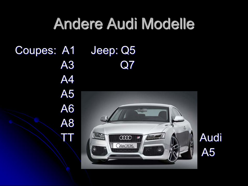 Andere Audi Modelle Coupes: A1 Jeep: Q5. A3 Q7.