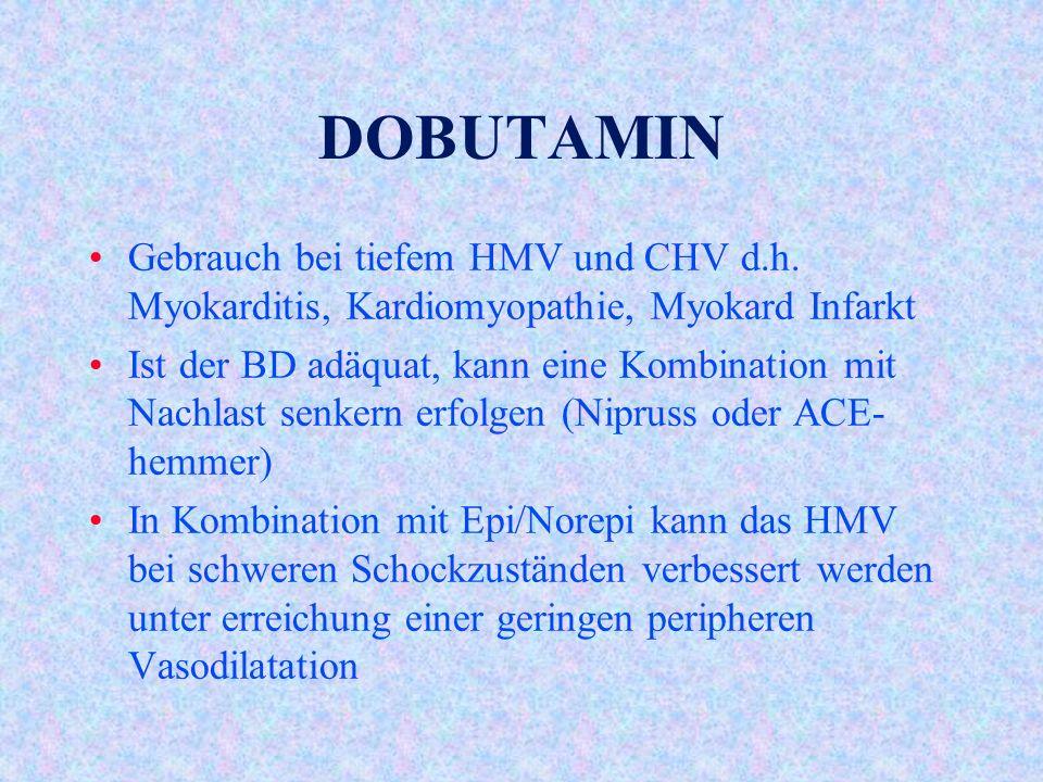 DOBUTAMIN Gebrauch bei tiefem HMV und CHV d.h. Myokarditis, Kardiomyopathie, Myokard Infarkt.