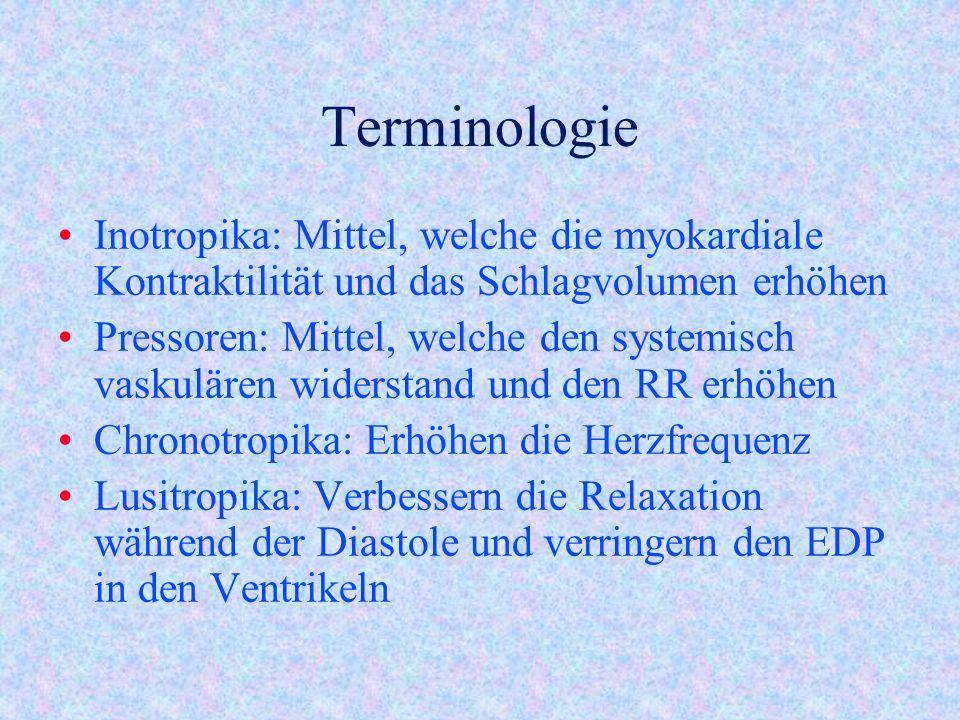 Terminologie Inotropika: Mittel, welche die myokardiale Kontraktilität und das Schlagvolumen erhöhen.