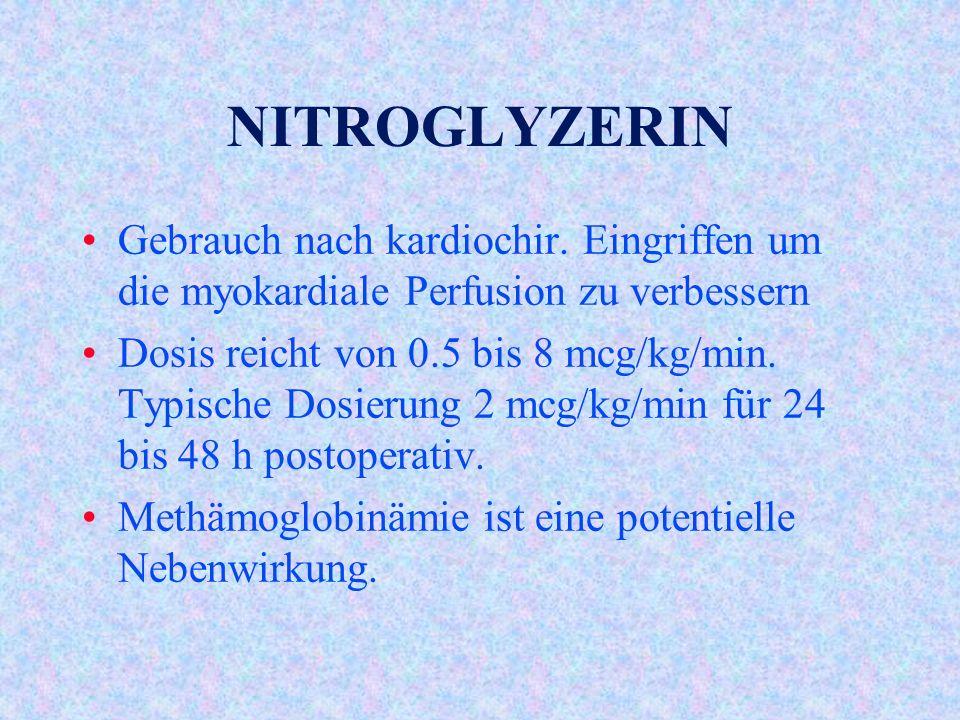 NITROGLYZERIN Gebrauch nach kardiochir. Eingriffen um die myokardiale Perfusion zu verbessern.