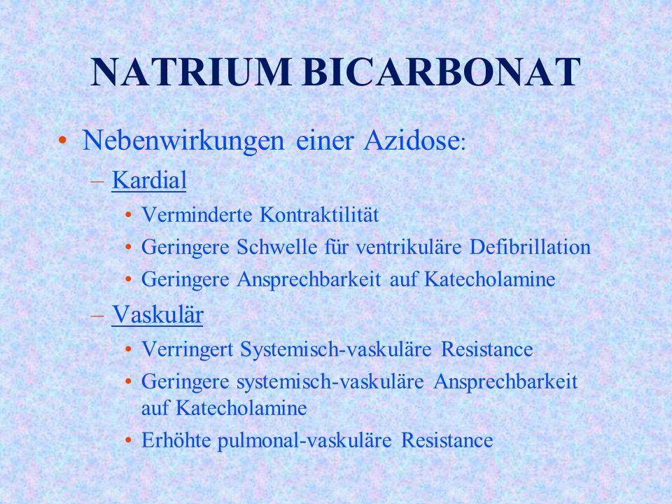 NATRIUM BICARBONAT Nebenwirkungen einer Azidose: Kardial Vaskulär