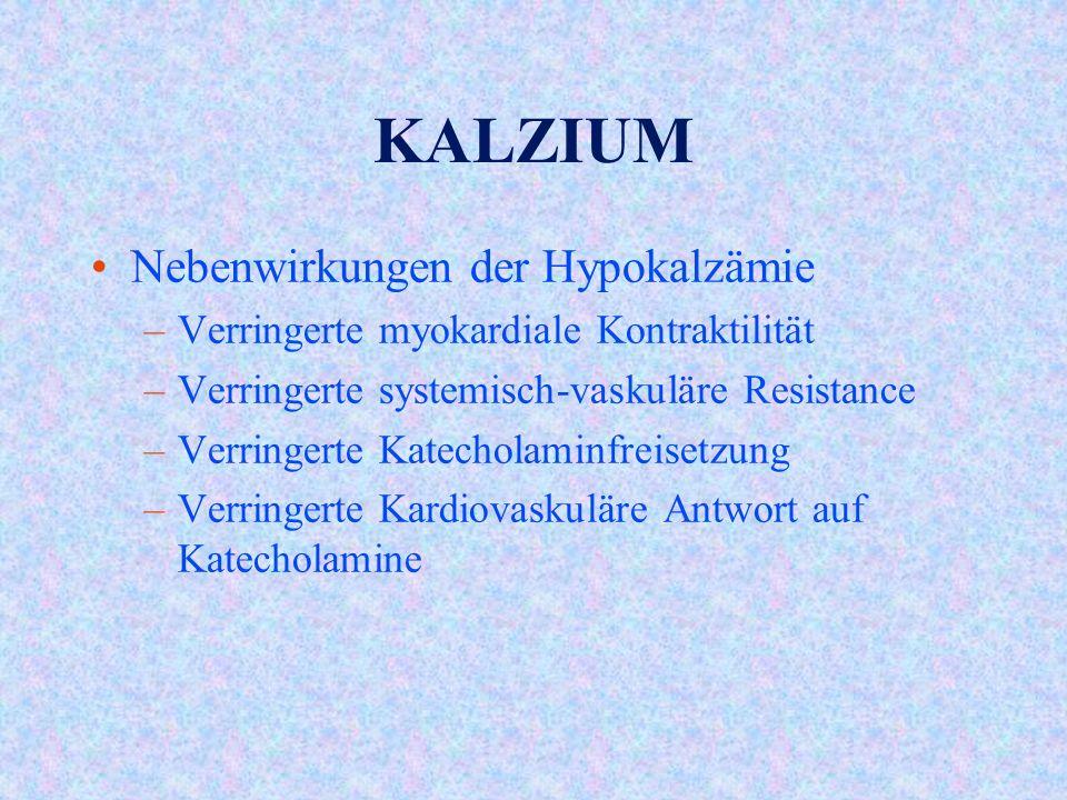 KALZIUM Nebenwirkungen der Hypokalzämie