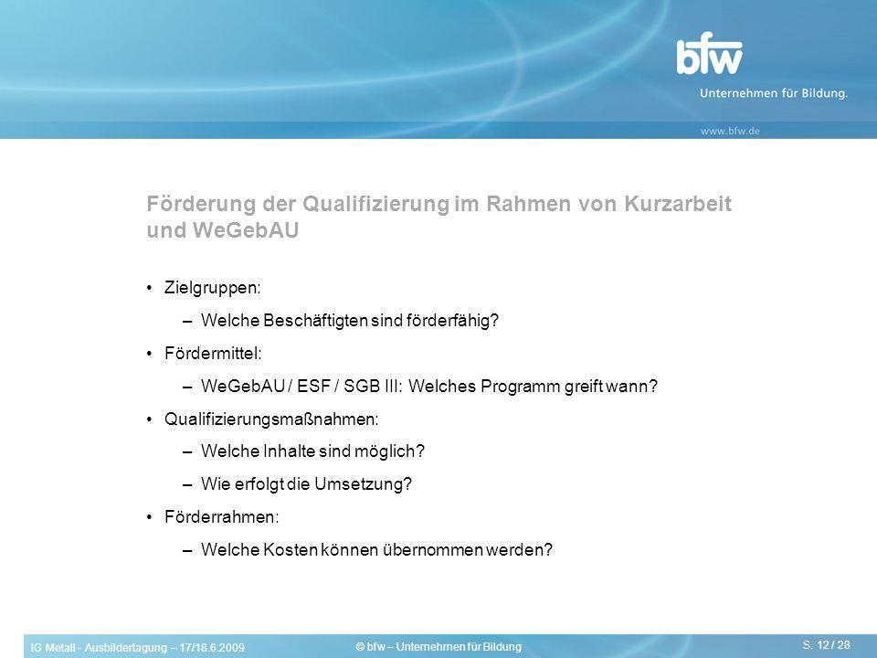 Förderung der Qualifizierung im Rahmen von Kurzarbeit und WeGebAU