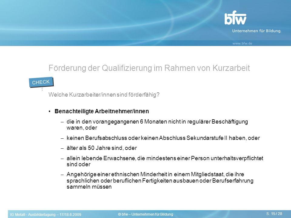 Förderung der Qualifizierung im Rahmen von Kurzarbeit
