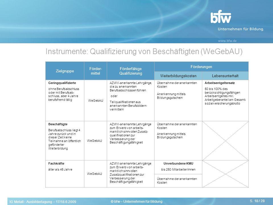 Instrumente: Qualifizierung von Beschäftigten (WeGebAU)