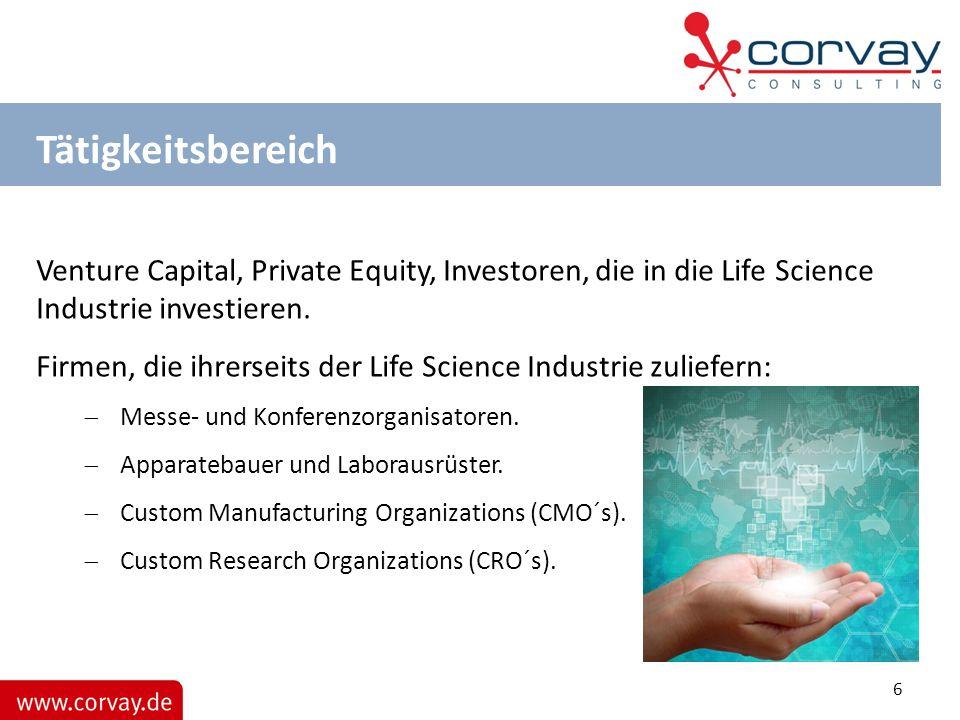 Tätigkeitsbereich Venture Capital, Private Equity, Investoren, die in die Life Science Industrie investieren.