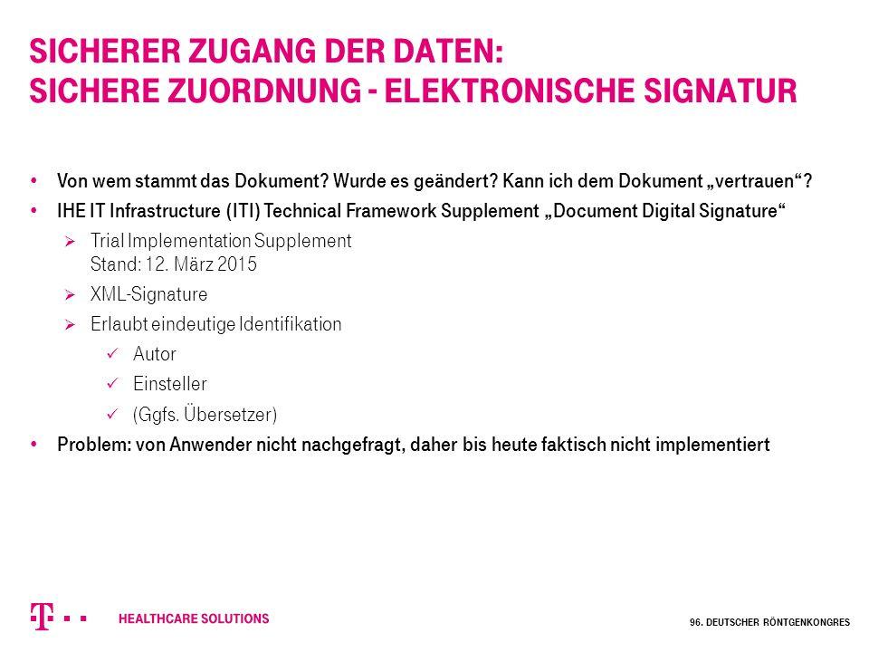 Sicherer Zugang der Daten: Sichere Zuordnung - elektronische Signatur