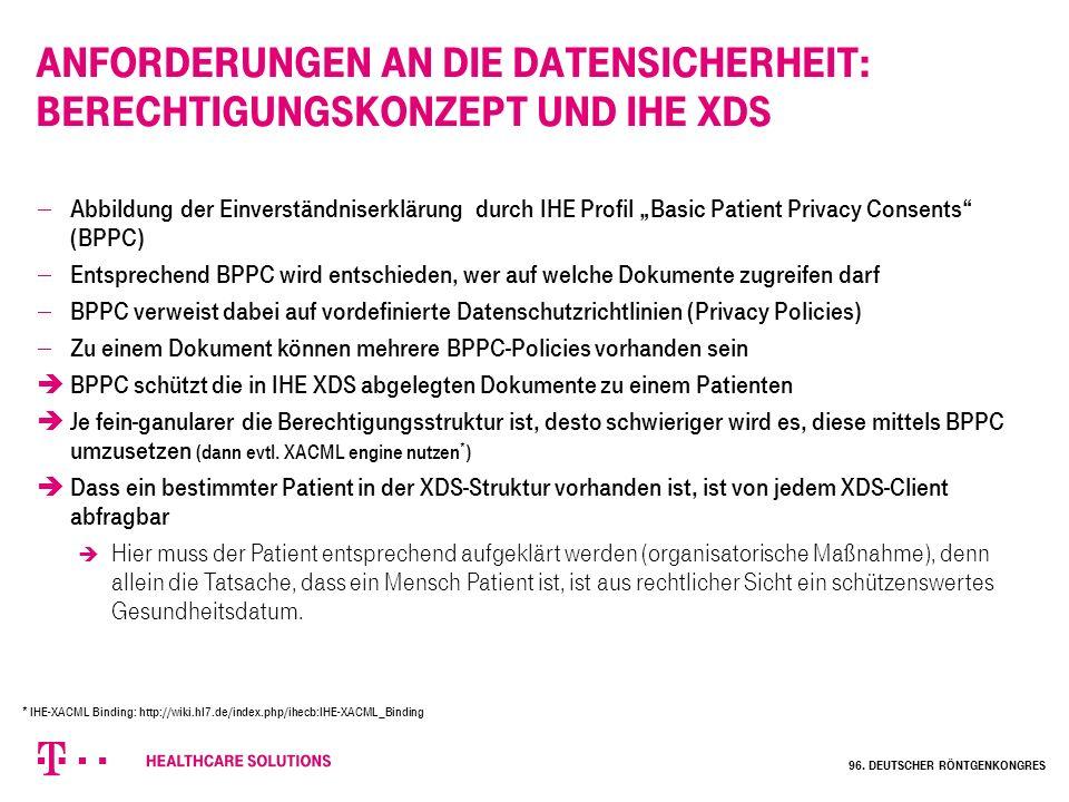 Anforderungen an die Datensicherheit: Berechtigungskonzept und IHE XDS