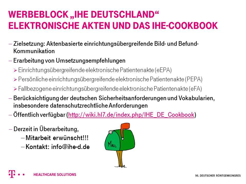 """Werbeblock """"IHE Deutschland Elektronische Akten und das IHE-Cookbook"""