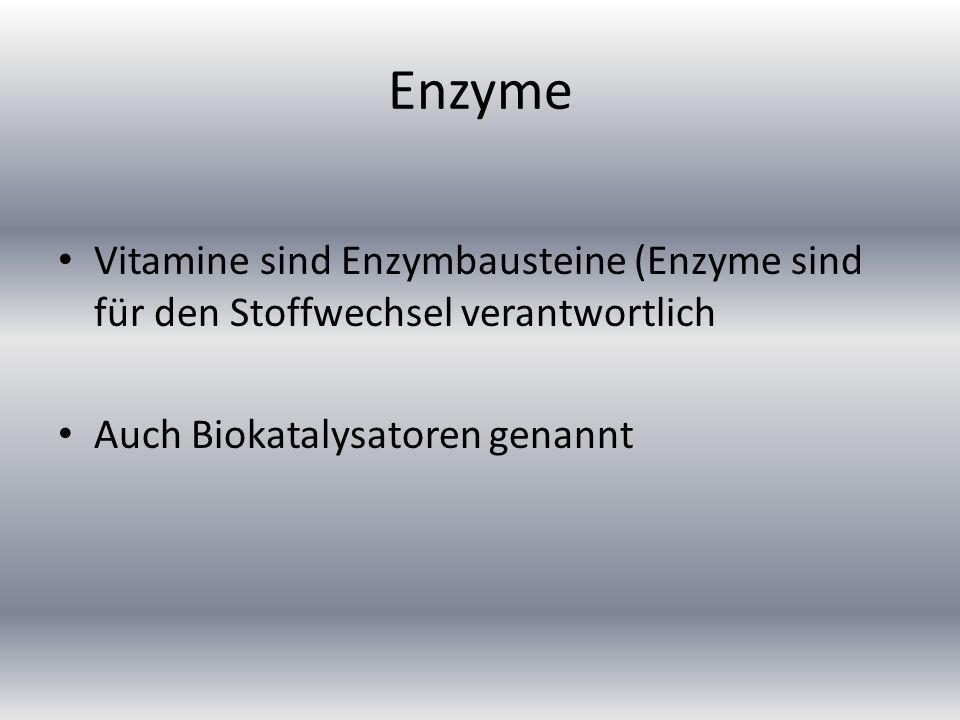 Enzyme Vitamine sind Enzymbausteine (Enzyme sind für den Stoffwechsel verantwortlich.
