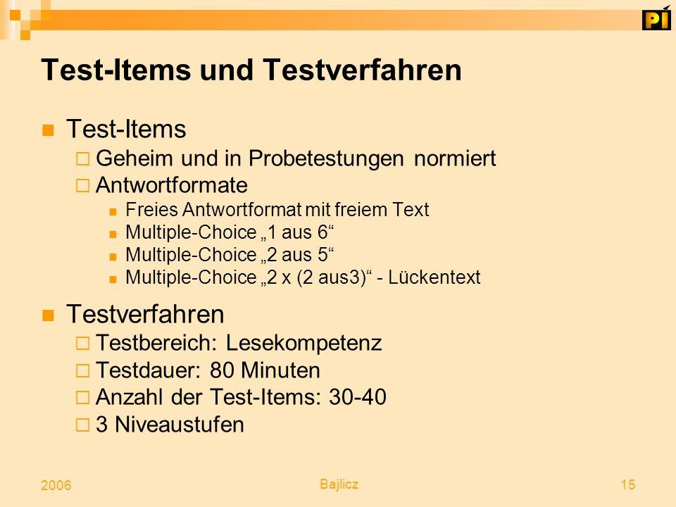 Test-Items und Testverfahren
