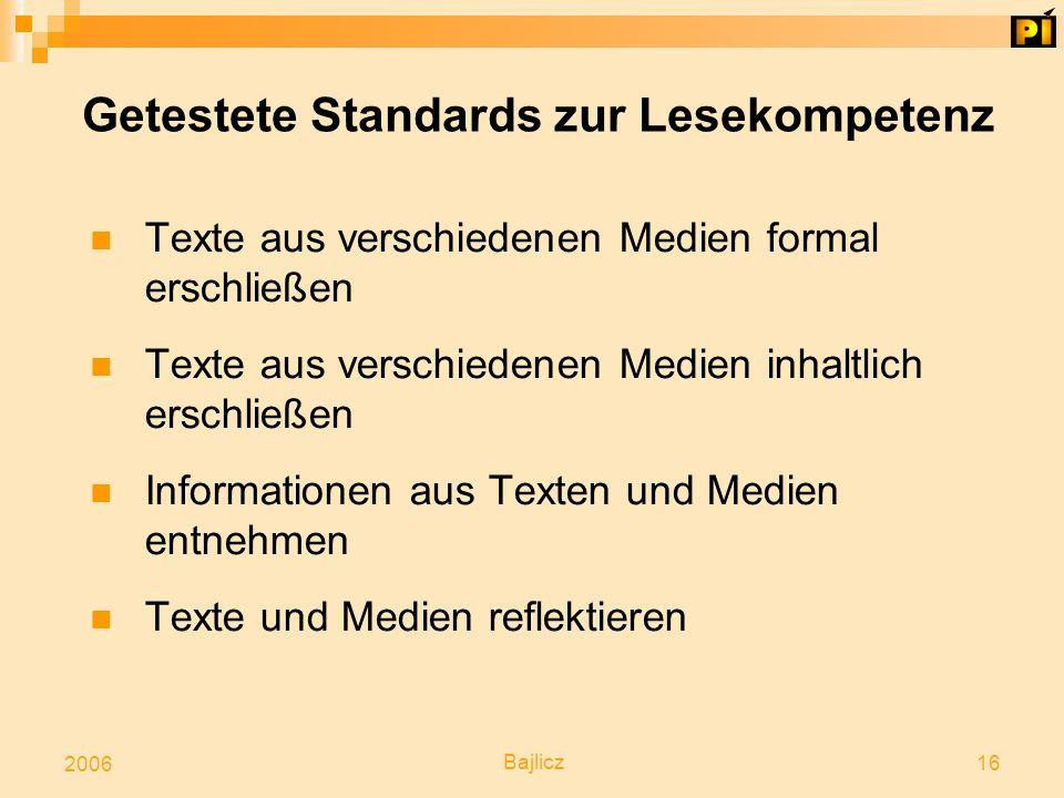 Getestete Standards zur Lesekompetenz