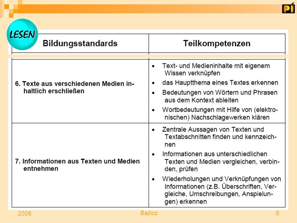 Die BILDUNGSSTANDARDS werden von den Kompetenzbereichen ausgehend formuliert