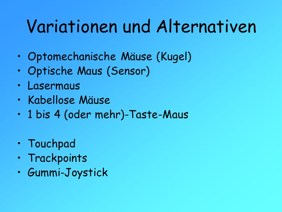 Variationen und Alternativen