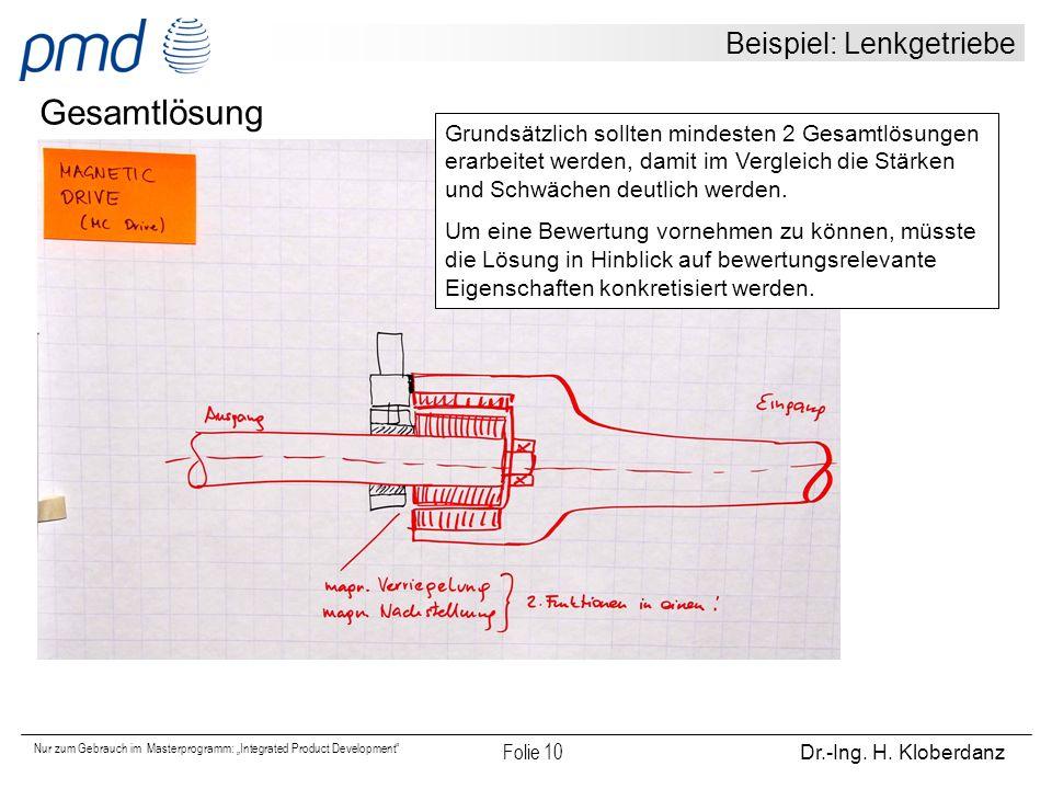 Beispiel: Lenkgetriebe