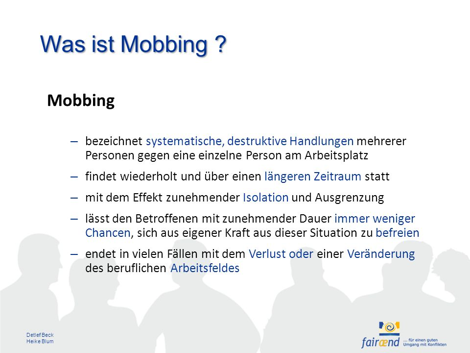 Was ist Mobbing Mobbing