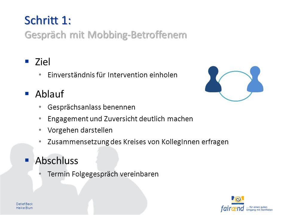 Schritt 1: Gespräch mit Mobbing-Betroffenem