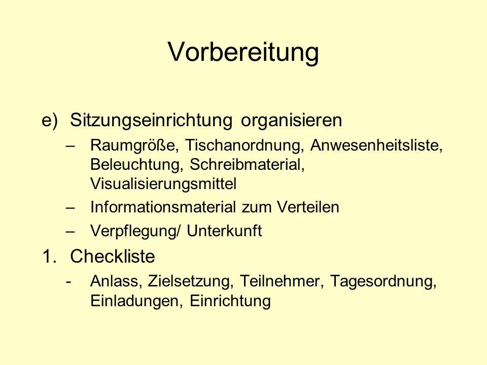 Vorbereitung Sitzungseinrichtung organisieren Checkliste