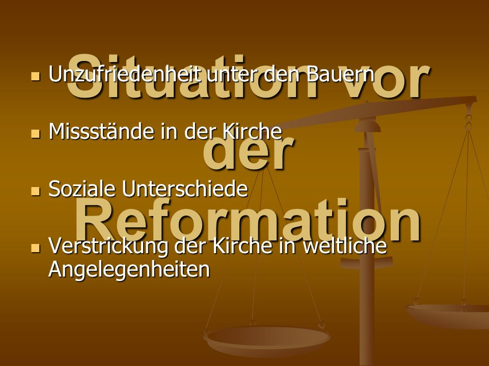 Situation vor der Reformation