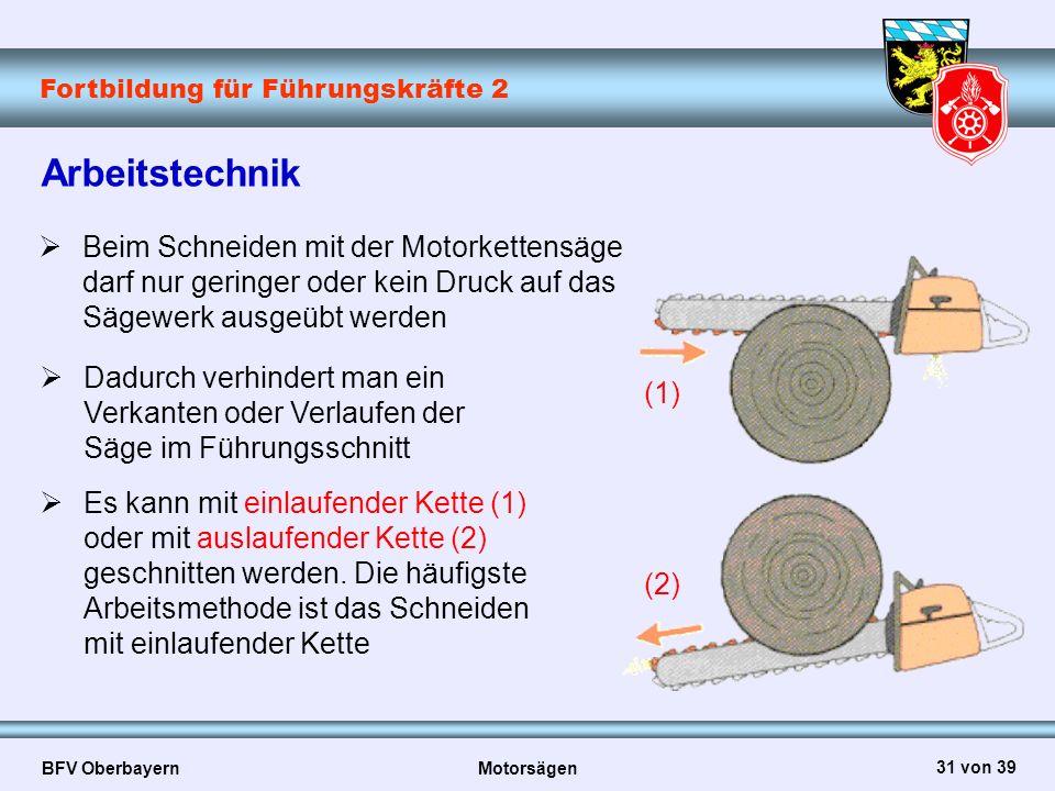 Arbeitstechnik Beim Schneiden mit der Motorkettensäge darf nur geringer oder kein Druck auf das Sägewerk ausgeübt werden.