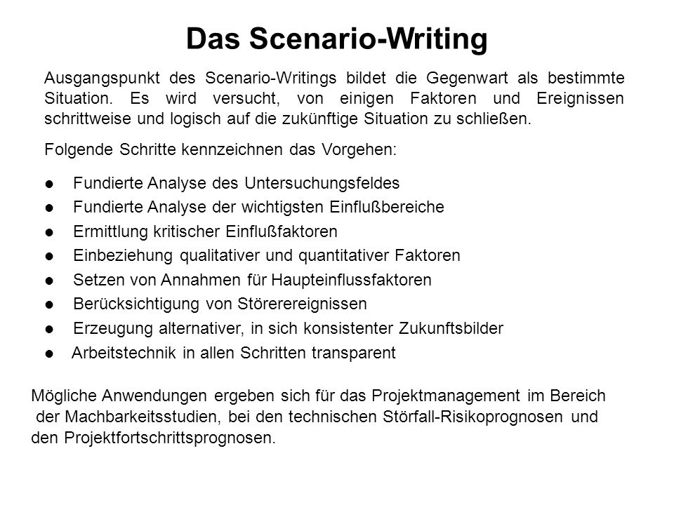 Das Scenario-Writing