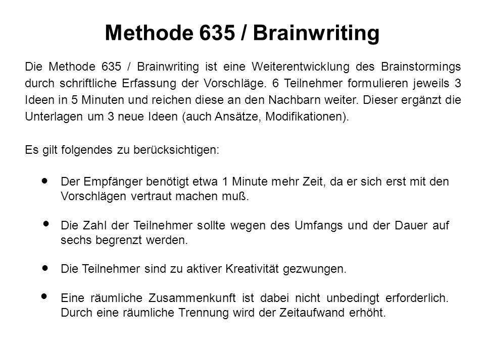 Methode 635 / Brainwriting
