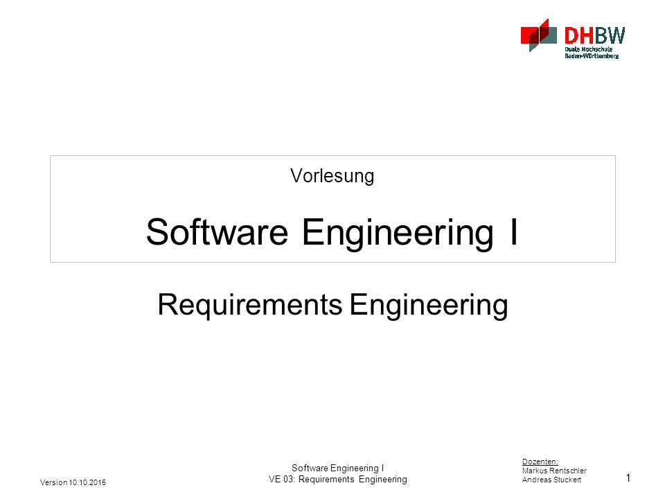 Vorlesung Software Engineering I