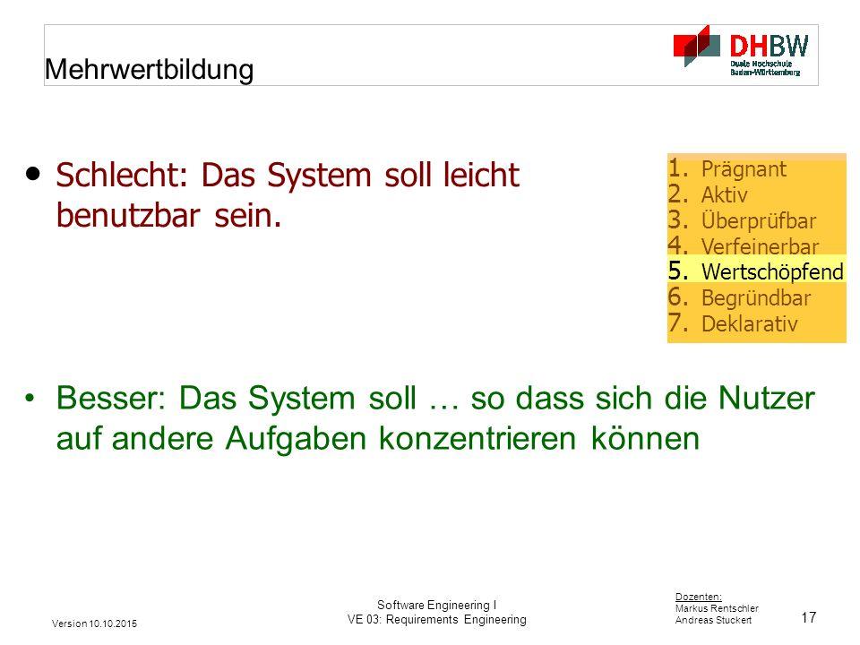 Schlecht: Das System soll leicht benutzbar sein.