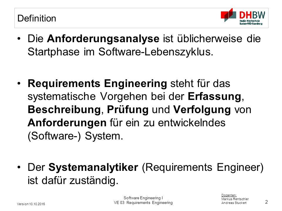 Der Systemanalytiker (Requirements Engineer) ist dafür zuständig.