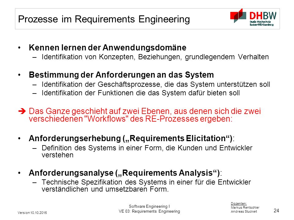 Prozesse im Requirements Engineering