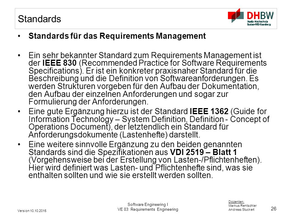 Standards Standards für das Requirements Management