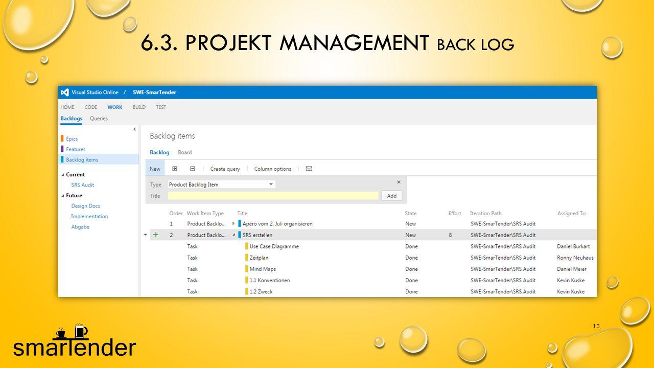 6.3. Projekt Management Back log