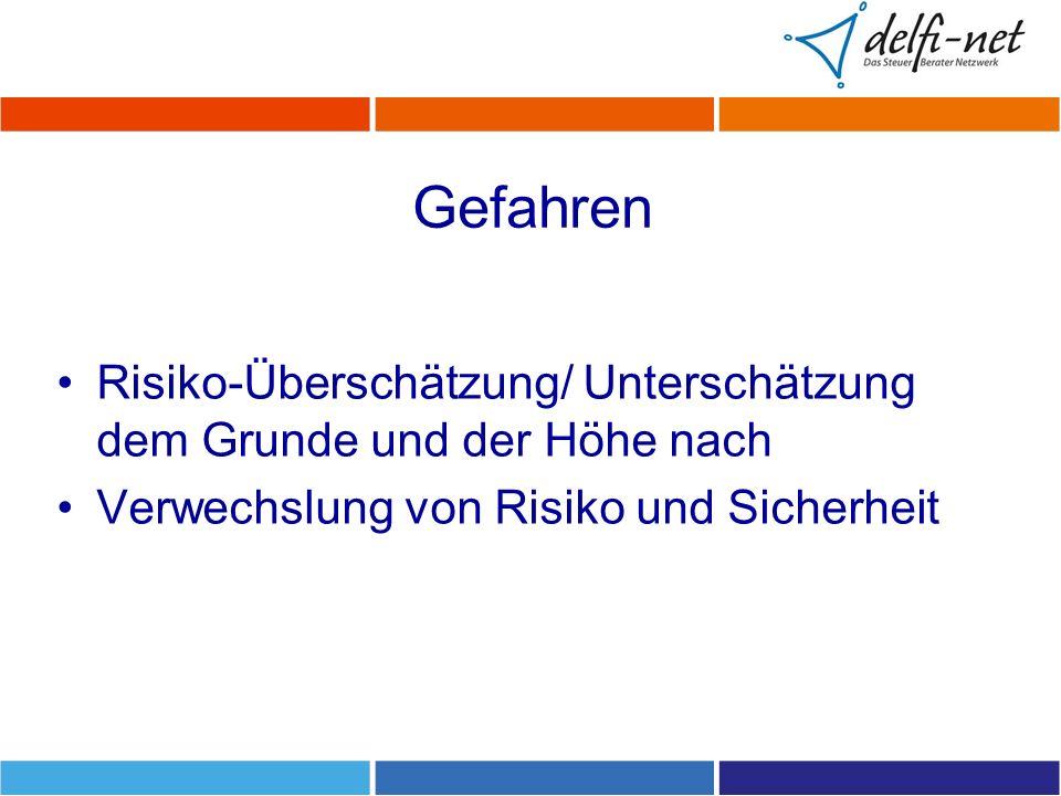 Gefahren Risiko-Überschätzung/ Unterschätzung dem Grunde und der Höhe nach.