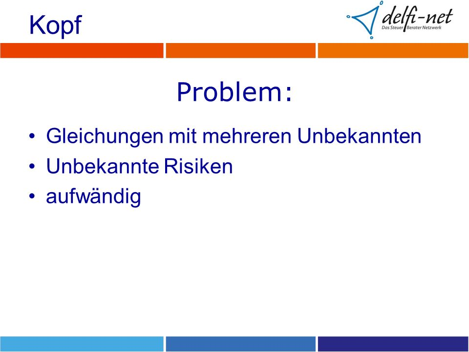 Kopf Problem: Gleichungen mit mehreren Unbekannten Unbekannte Risiken