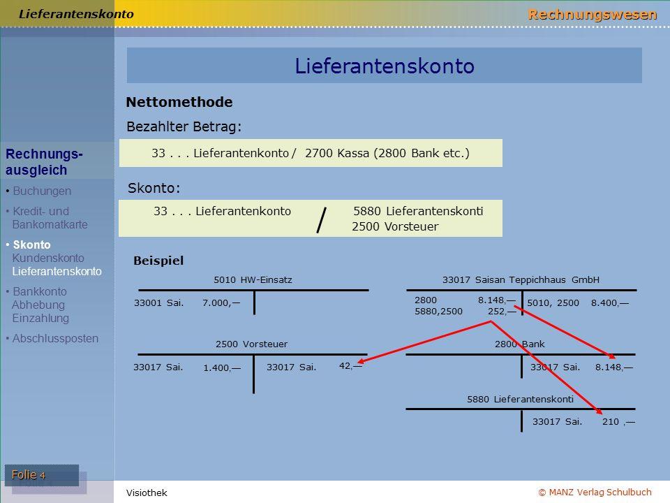 Lieferantenskonto Nettomethode Bezahlter Betrag: Rechnungs- ausgleich