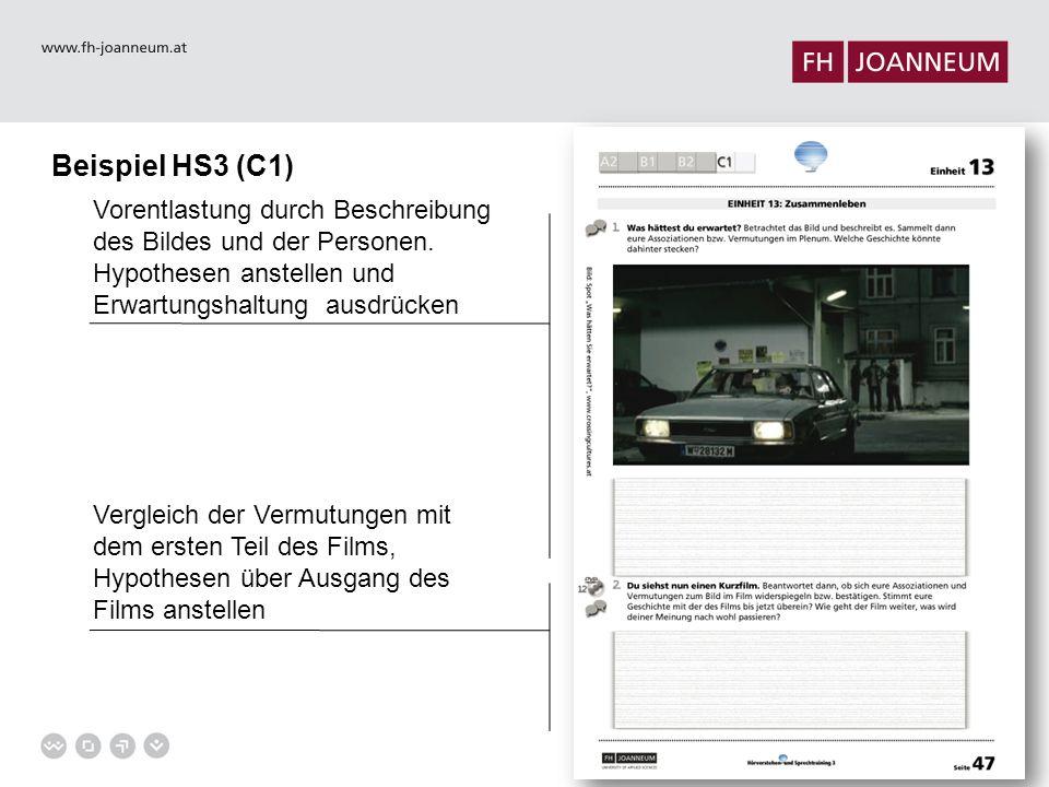 Beispiel HS3 (C1) Vorentlastung durch Beschreibung des Bildes und der Personen. Hypothesen anstellen und Erwartungshaltung ausdrücken.