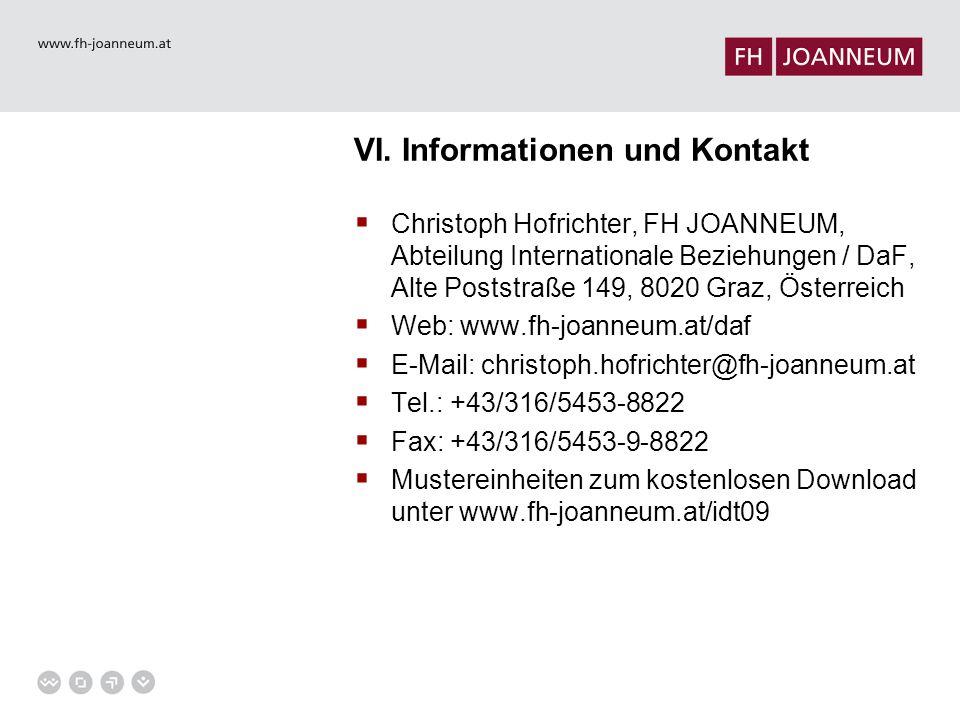 VI. Informationen und Kontakt