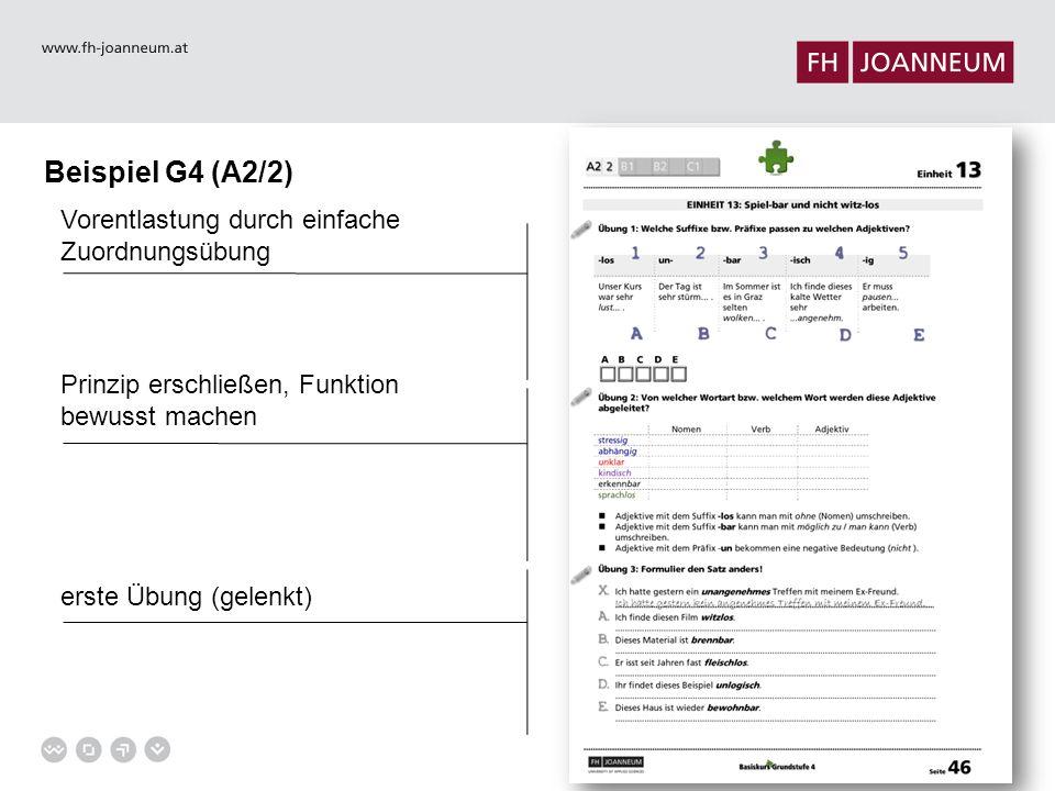 Beispiel G4 (A2/2) Vorentlastung durch einfache Zuordnungsübung