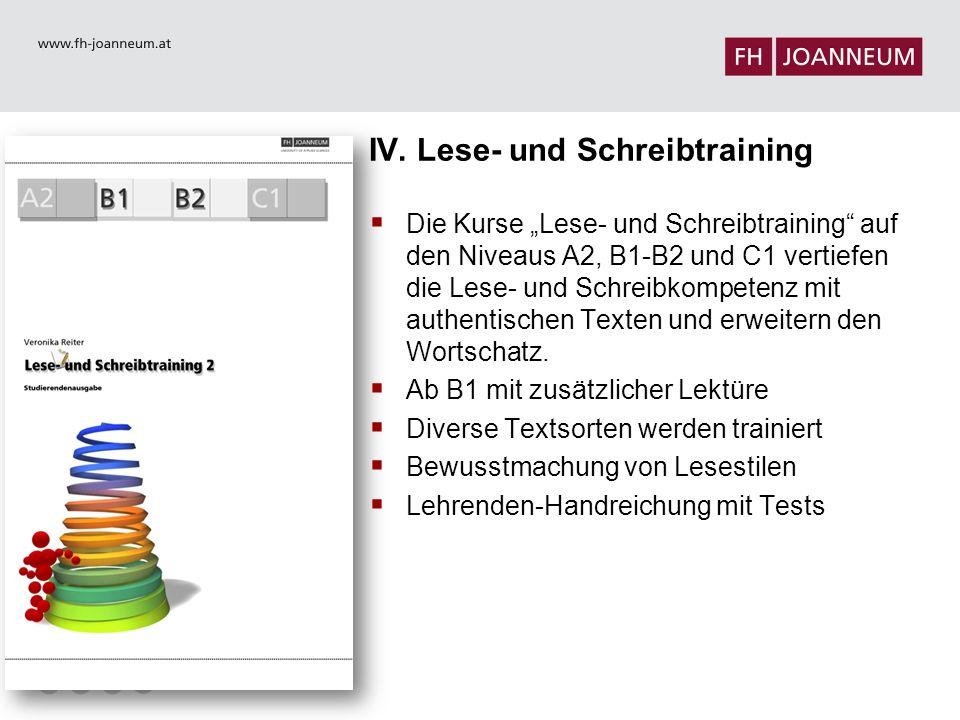 IV. Lese- und Schreibtraining