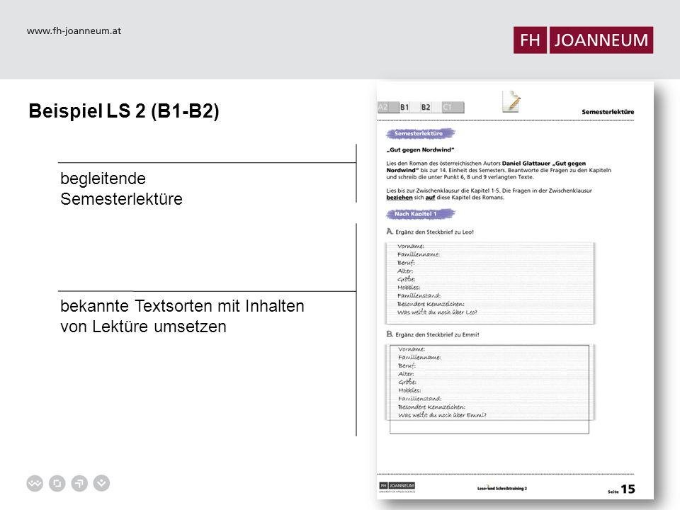 Beispiel LS 2 (B1-B2) begleitende Semesterlektüre