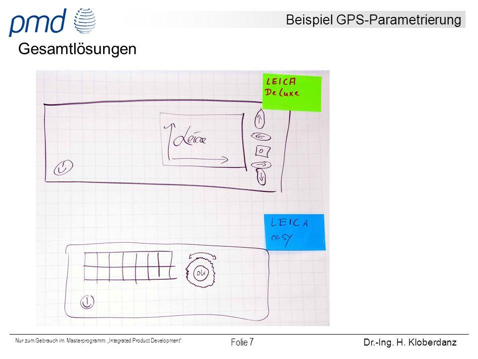 Beispiel GPS-Parametrierung