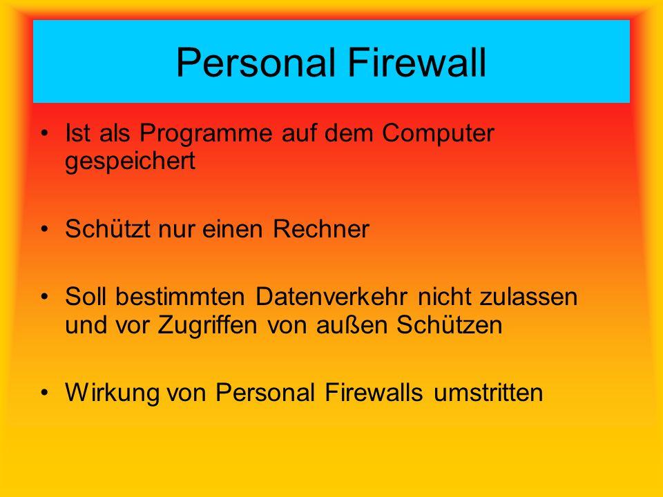 Personal Firewall Ist als Programme auf dem Computer gespeichert